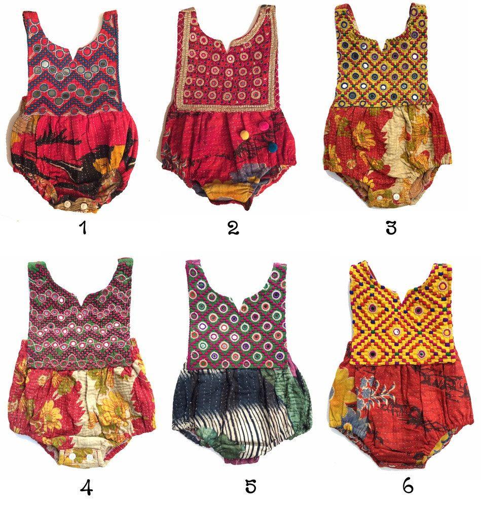 2t kantha romper vintage style baby clothing boho romper