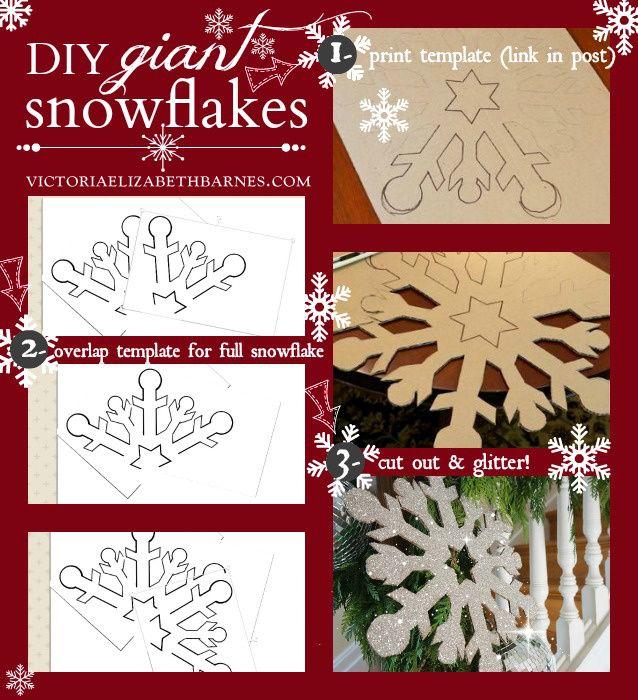 DIY giant-snowflake Recorta un modelo de una esquina ve solapando el modelo sobre la cartulina hasta formar el copo. Recorta y decora