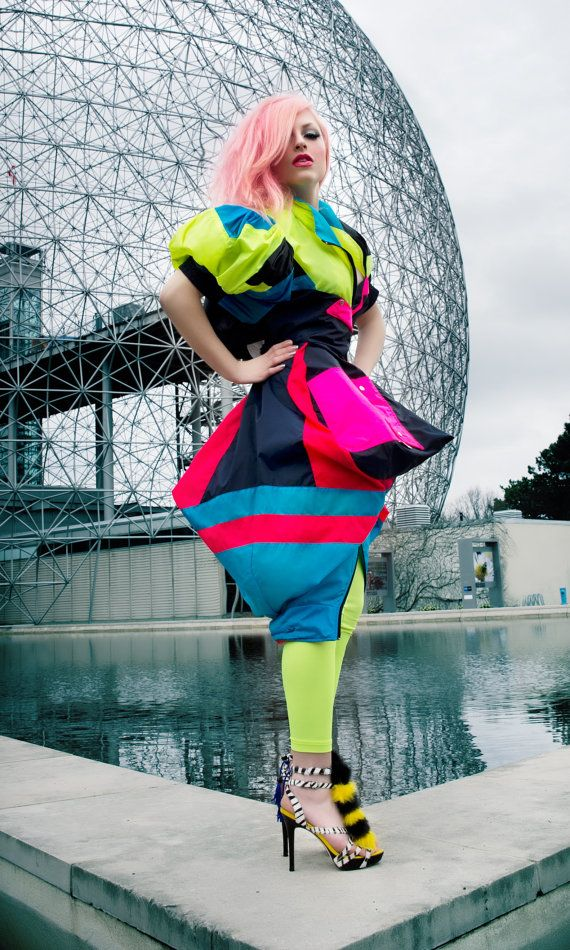 Up-Cycled Neon Rain Jacket The Hunger Games Effie Trinket Splish ...