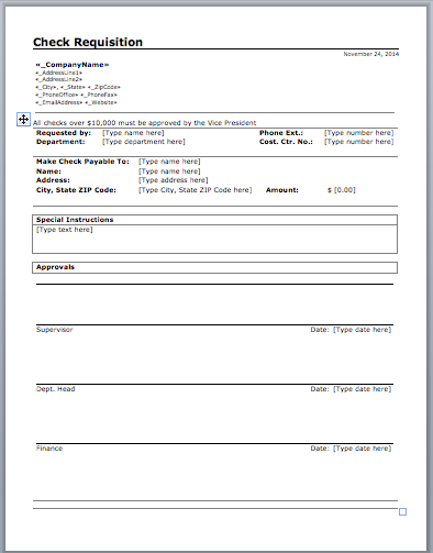 Check Requisition Template  Templates    Template