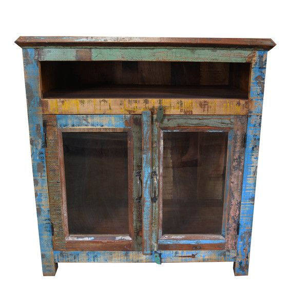 Rustic Reclaimed Mango Wood Cabinet with Glass Doors (India) - Rustic Reclaimed Mango Wood Cabinet With Glass Doors (India