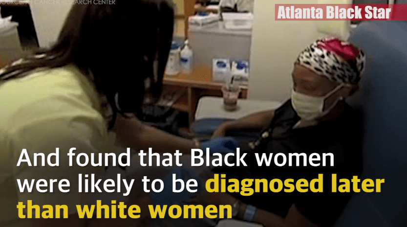 According to medical research, no matter the stage or type of breast cancer, women of color are more likely to be diagnosed later in the disease than their white counterparts. Minority women are also less likely to get the recommended treatments for breast cancer.