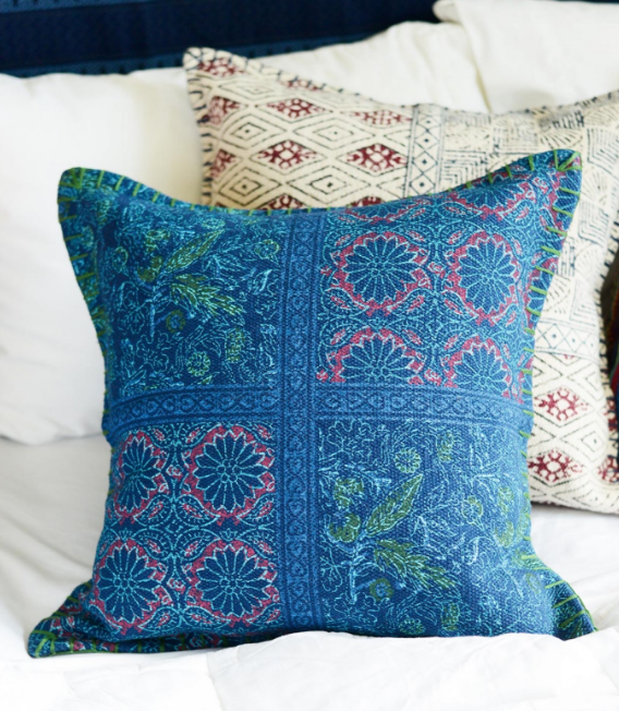 Navy India Block Pillow.