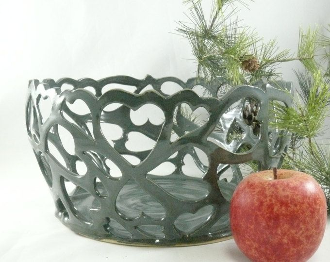 Heart Bowl Ceramic Fruit Bowl Carved Art Object With Hearts