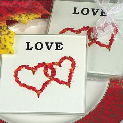 Fall and Autumn Love Coaster Set of 2 | Love themed wedding favors