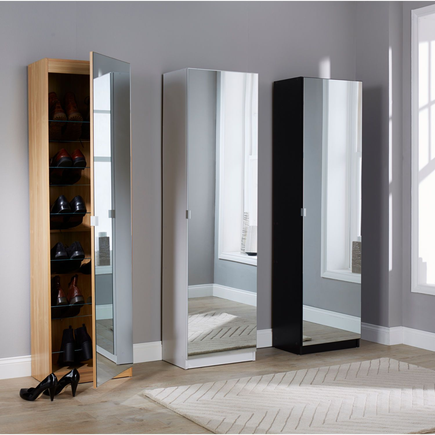 Mirrored Shoe Cabinet In White Next Day Delivery From WorldStores Everything For The Home