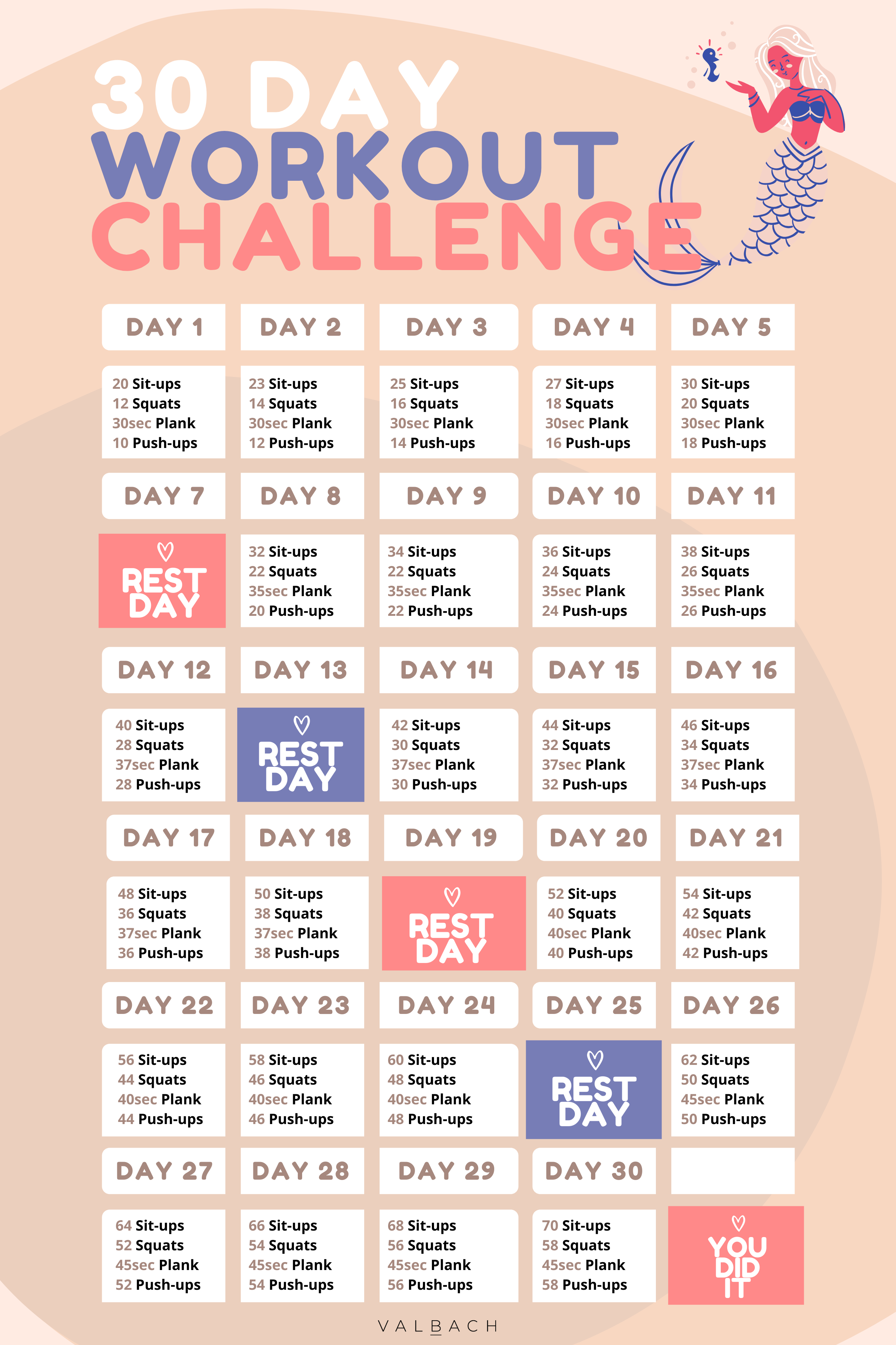30 Day Workout Challenge For Women At Home In 2020 Beginner Workout At Home 30 Day Workout Challenge Workout Challenge