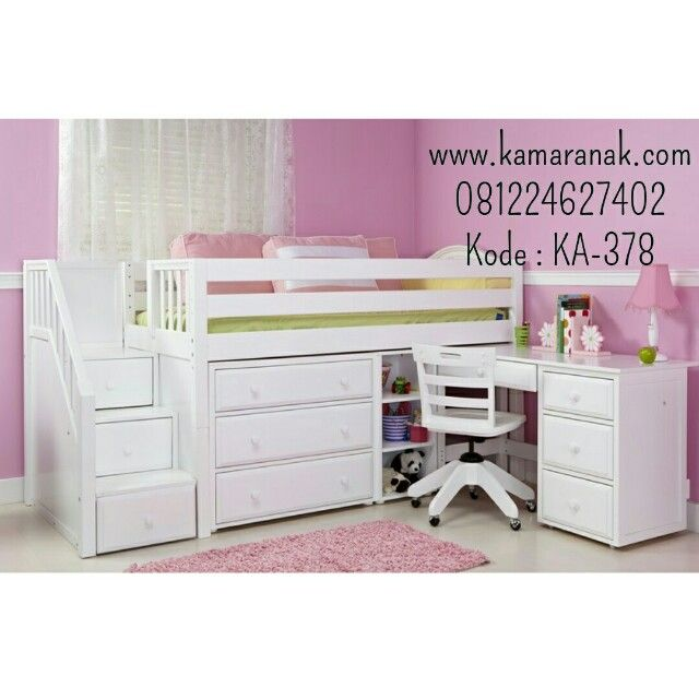 Tempat Tidur Anak Meja Belajar Laci KA-378