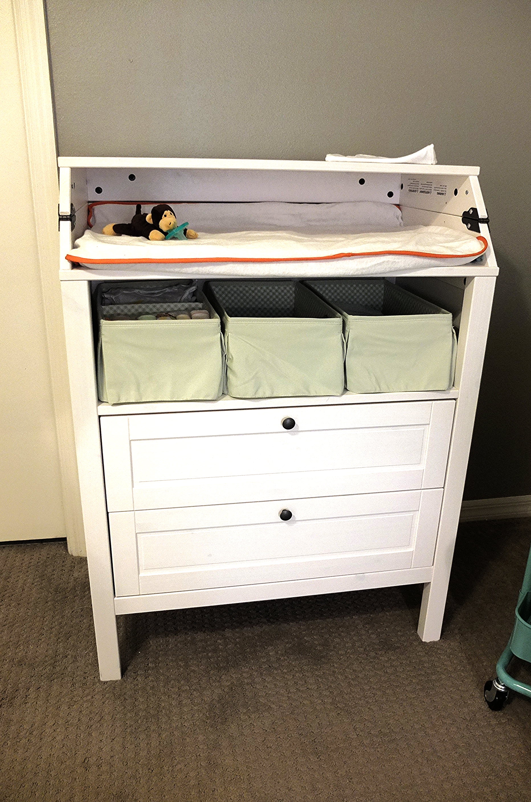 Changing Table Chest Of Drawers Sundvik Changing Table Has Open Storage Up Top So You Can Reach