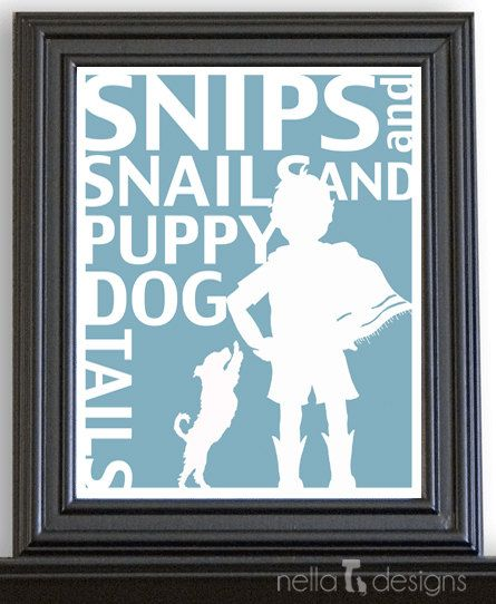 Kids Wall Art Nursery Boys Room Decor Snips And Snails Puppy Dog Tails