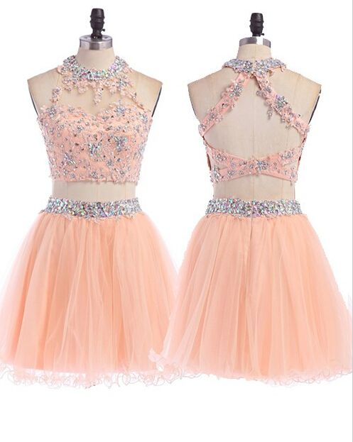 52d59b2b23 Two Pieces Tulle Short Prom Dresses