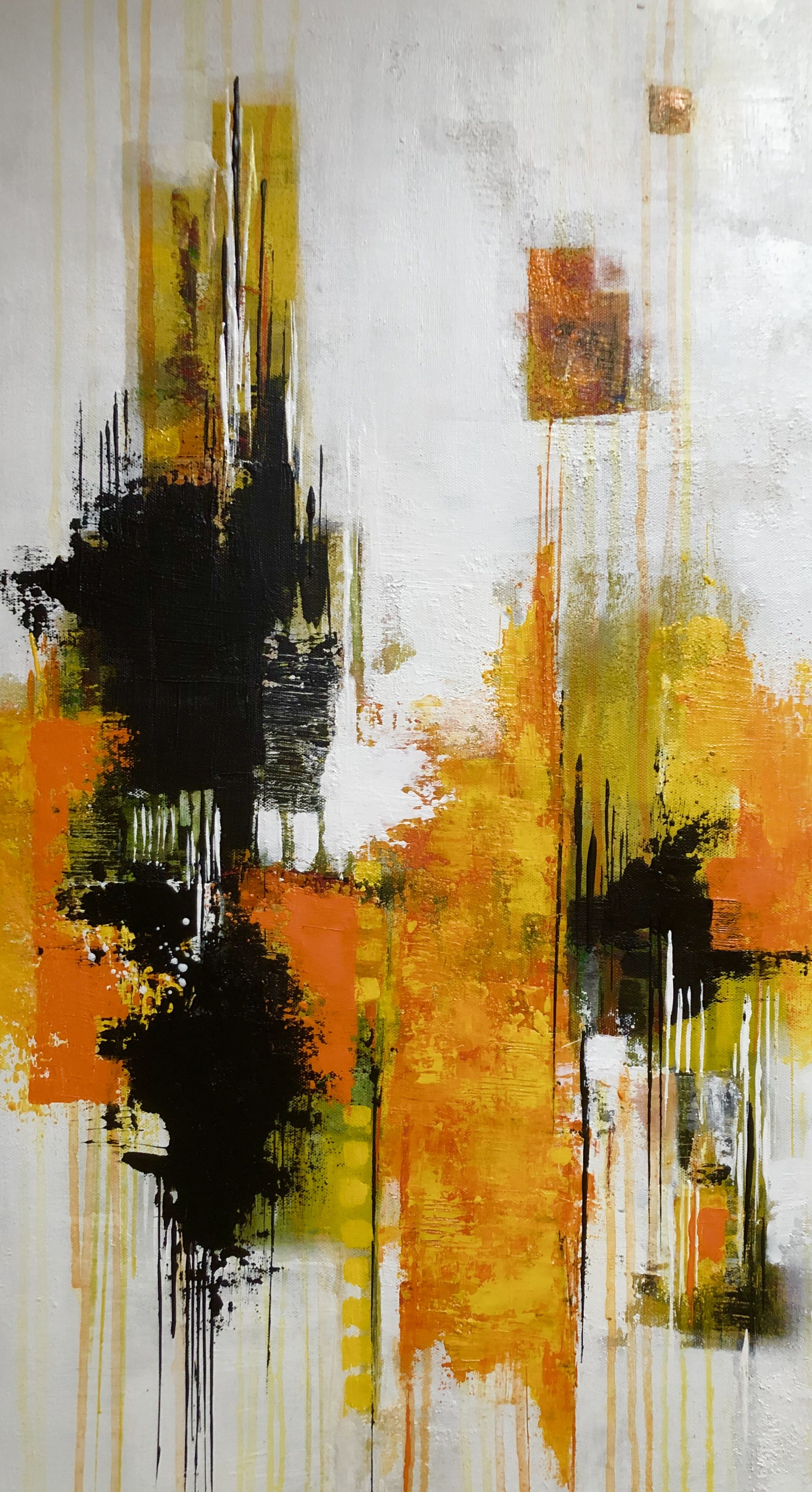 Abstraktes Bild In Acryl Sonnengelb 80x40 Cm Acrylbilder Abstrakt Abstrakte Kunst Gemalde Abstrakte Malerei