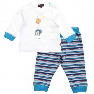 Paul Smith Junior Baby Boys White and Blue Cotton Pyjamas at Childrensalon.com