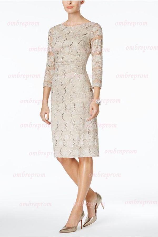 Sheath Knee Length Bateau Sequins 3 4 Sleeves Lace Mother Of The