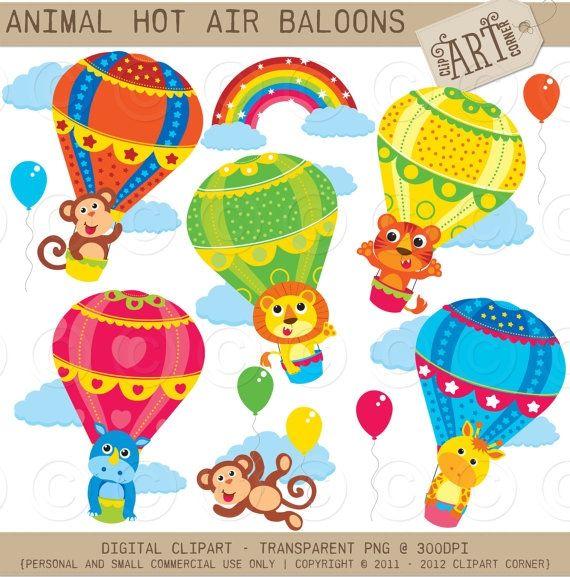 Animal Hot Air Baloons Luvly Print Stickers Scrapbook Art Hot Air Balloon
