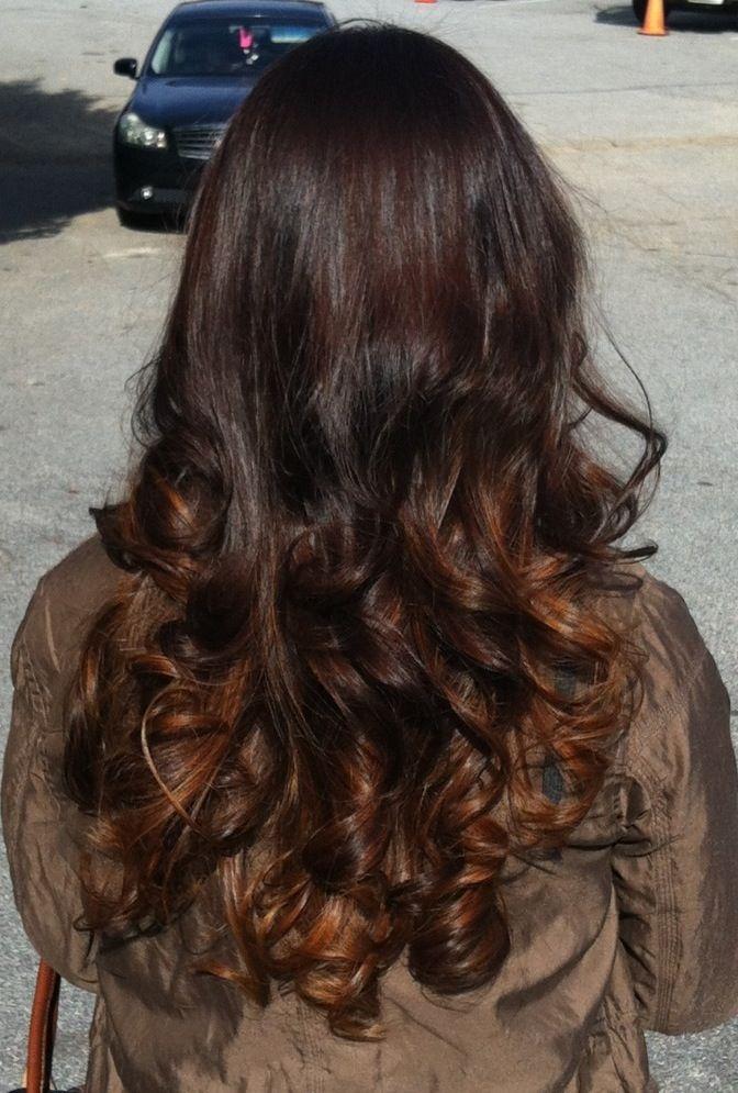 Dark auburn and caramel ombre | Caramel ombre hair, Hair ...