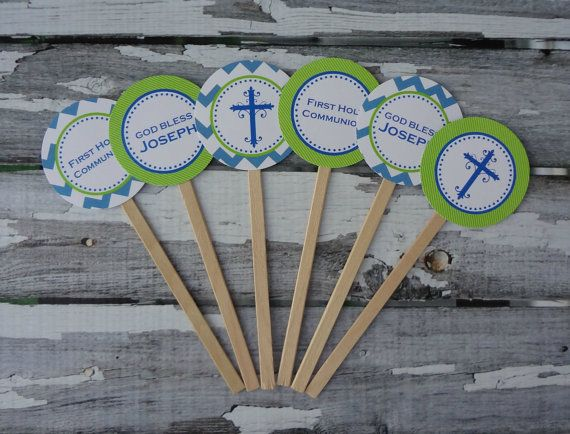 Blue Chevron and Lime Green Communion / Baptism by onestylishparty, $8.00