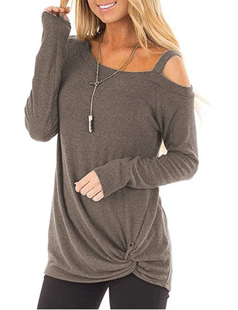 f6aa46baac1 MISELON Women's Cold Shoulder T-Shirt Long Sleeve Blouses Knot Twist Front  Tunic Tops