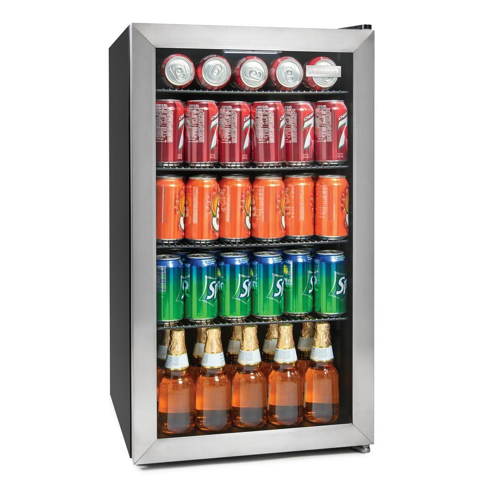Igloo 135 Can Stainless Steel Beverage Cooler Silver Tempered Glass Door Beverage Center Beverage Refrigerator