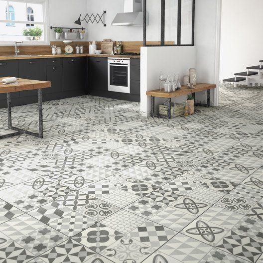 Carrelage sol gris effet ciment Ruban l.45 x L.45 cm | Decoration ...