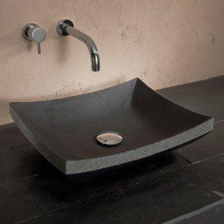 Vasque à poser basalte l.45 x P.35 cm noir Madurai