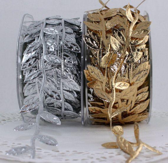 Gold Silver Leaves Ribbon Trim Wedding Gift Wrap Baby Headband Craft Wreath Halo