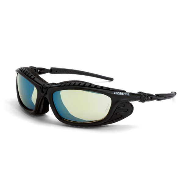 8f383d14af4 CrossFire Eclipse Safety Glasses - Black Foam Lined Frame - Yellow Mirror  Lens