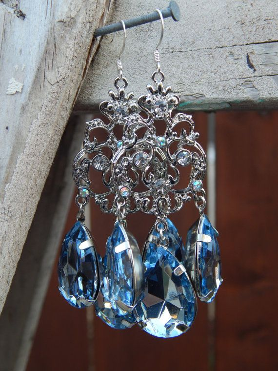 Silver And Light Blue Crystal Chandelier Earrings By Candcstudios - Chandelier crystals blue