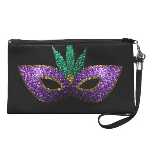 Beautiful Elegant Mardi Gras Mask in Purple Green Gold Sparkles look | Black Wristlet Purse by #PLdesign #MardiGras #PurpleSparkles