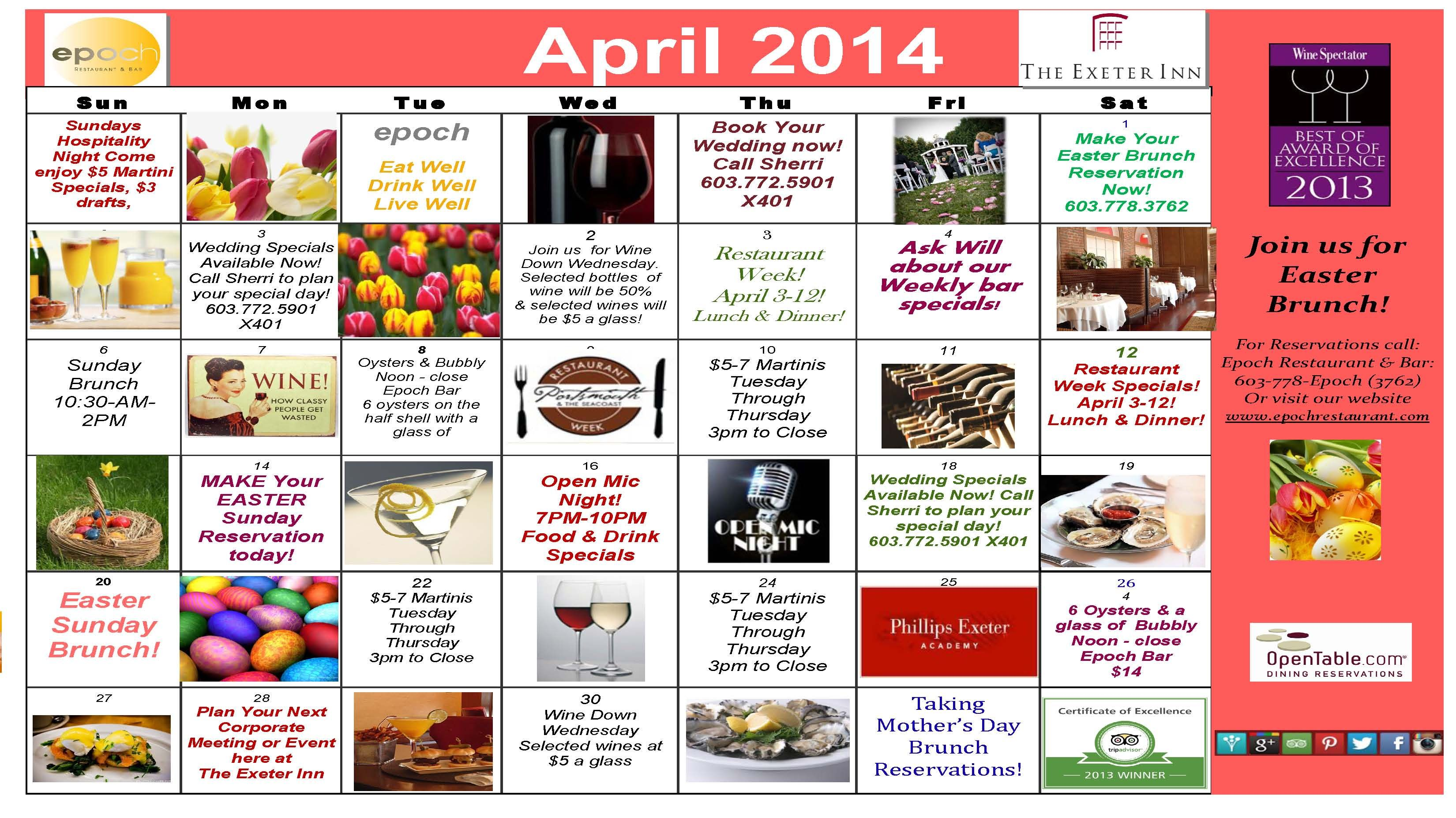 Here Is Our April 2014 Monthly Calendar Of Events For The Exeter
