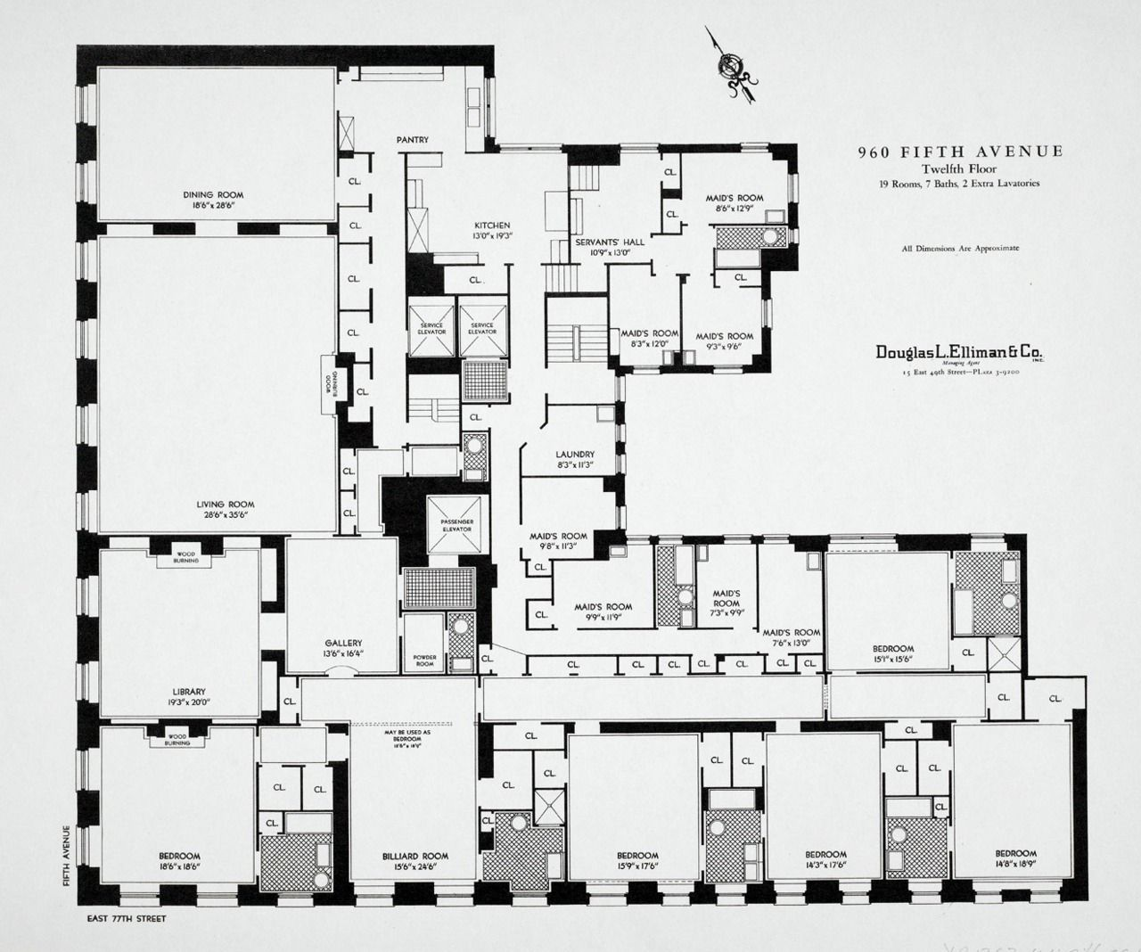 Floorplan of a typical appartment, 960 Fifth Avenue, New York Seven ...
