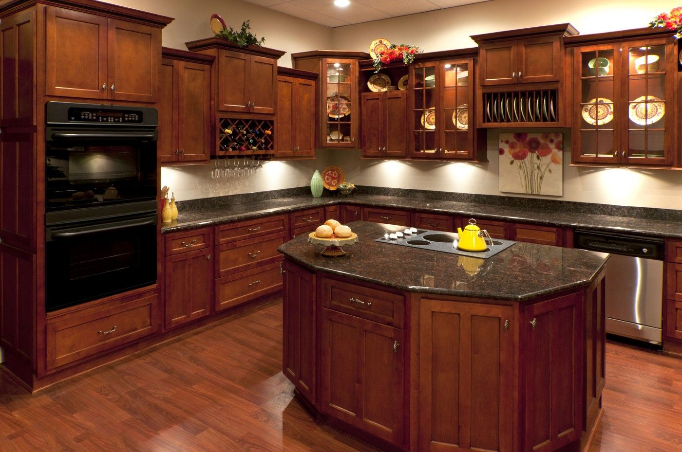 Cherry Kitchen Cabinets With Gray Wall And Quartz Countertops Ideas