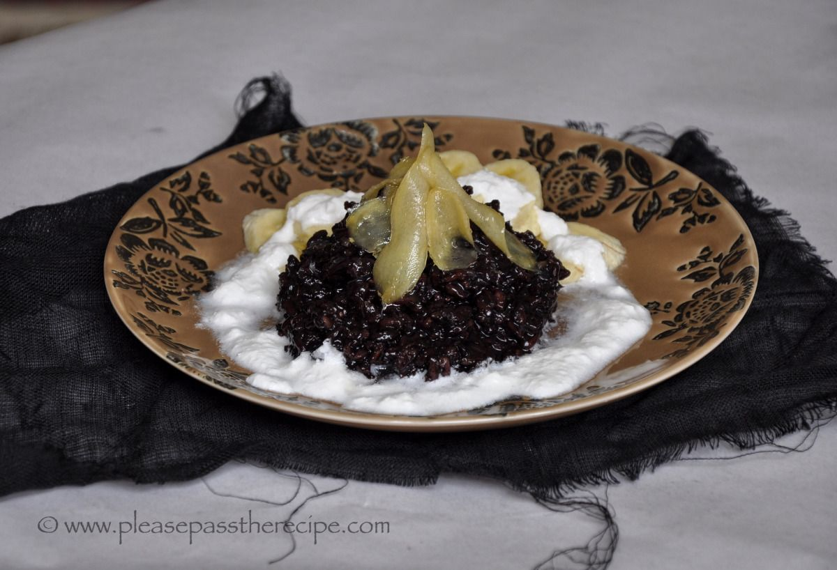 Sticky black rice, ginger syrup, coconut yoghurt and ...