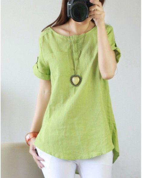 30c1c4fdd873d Summer Casual Womens Linen Cotton Short Sleeve Shirt Blouse Tops Plus Size