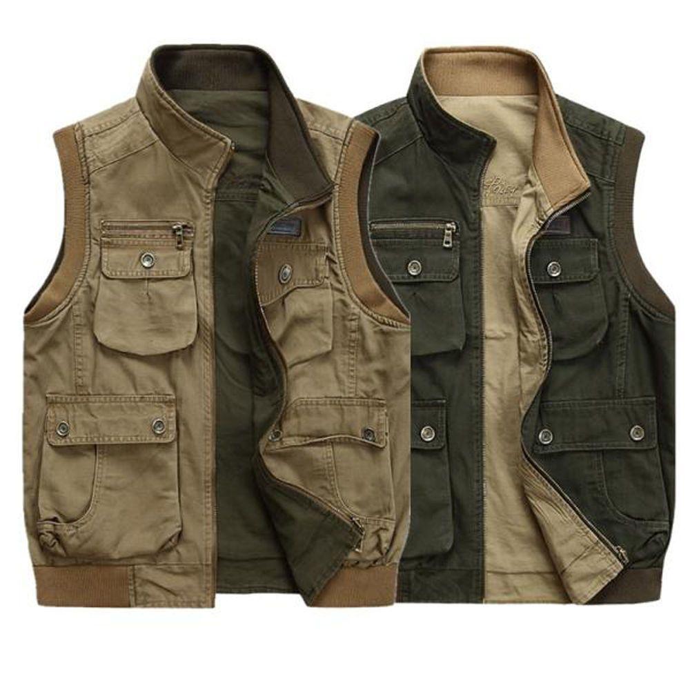997bacb2e1f25 Multi Pockets Decor Men Casual Sleeveless Jacket Winter Outdoor ...