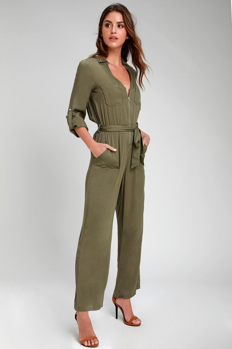 1be289010804 Good Mood Olive Green Long Sleeve Jumpsuit