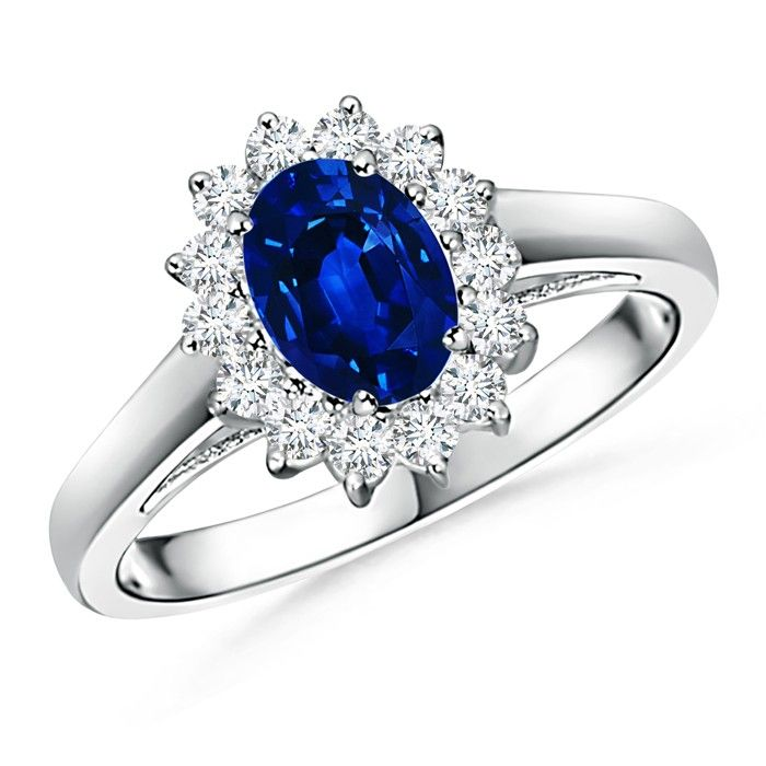 Angara GIA Certified Sapphire Cathedral Halo Ring with Milgrain gHAzil