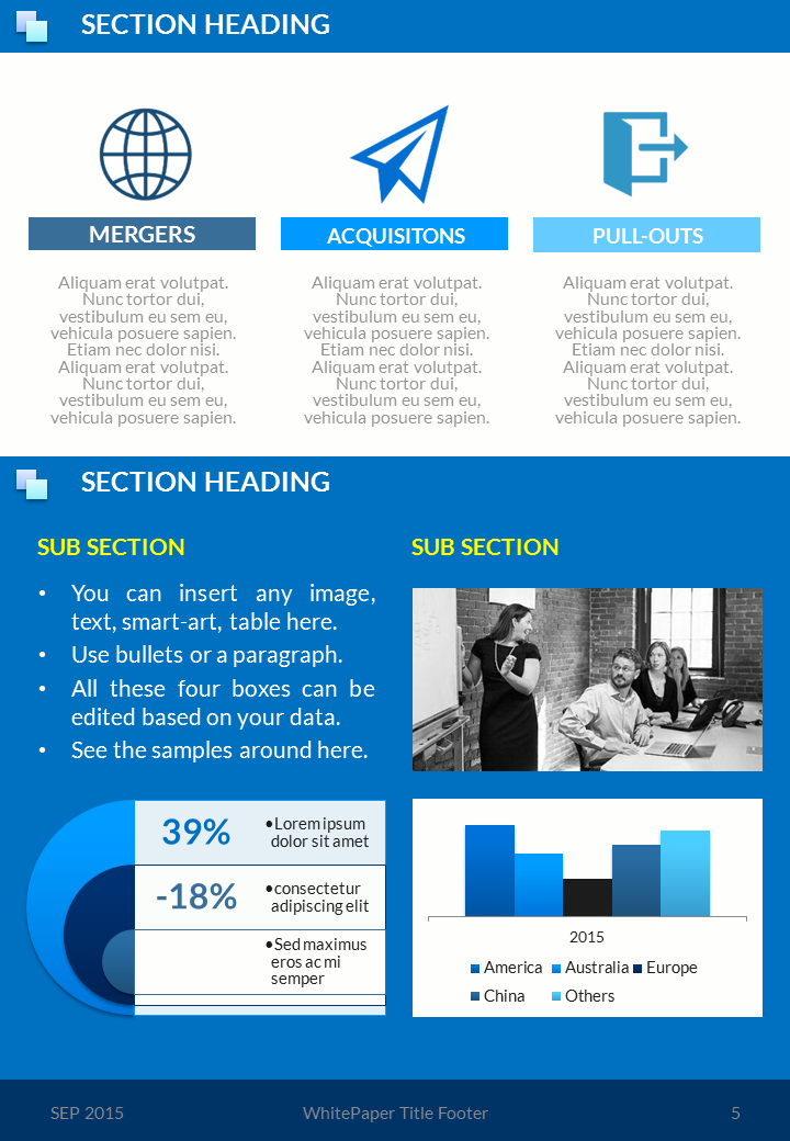 corpo blue - whitepaper template | powerpoint ppt templates, Presentation templates