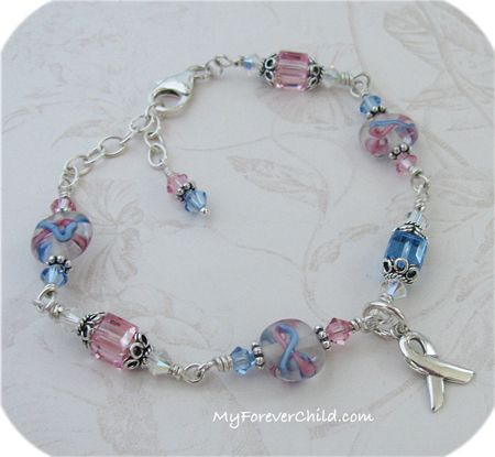 Pregnancy And Infant Loss Swarovski Crystal Cube Bracelet With Sterling Ribbon Charm