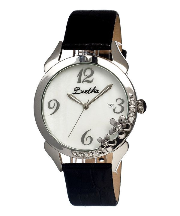 Take a look at this Silver & Black Mother-of-Pearl Daisy Leather-Strap Watch on zulily today!