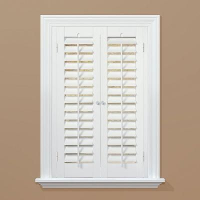 HOMEbasics Plantation Faux Wood White Interior Shutter (Price Varies By  Size) QSPA3124   The Home Depot