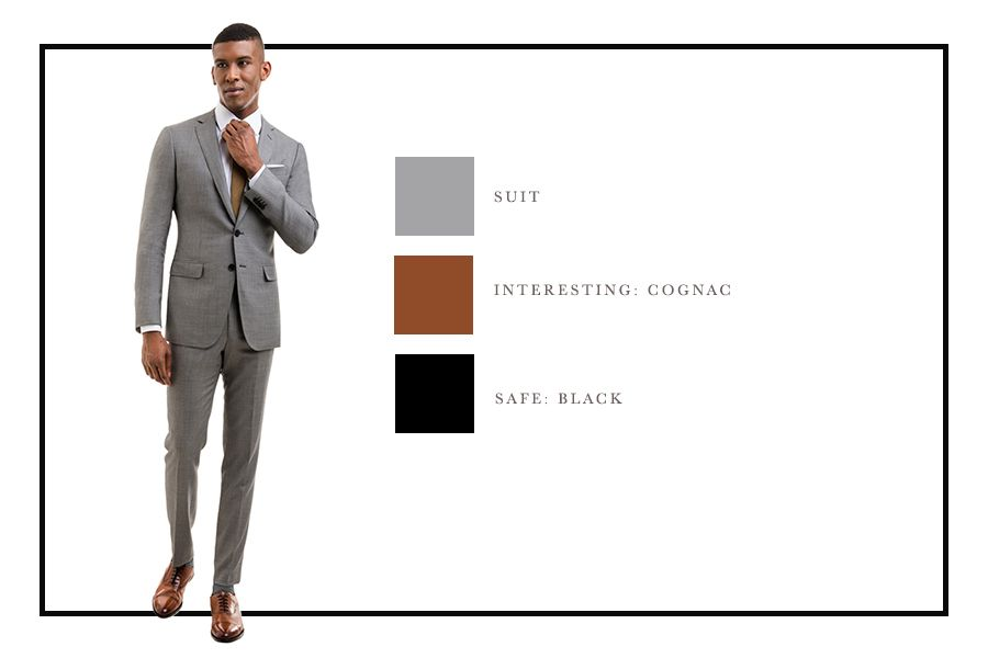 How To Combine Suit And Shoe Colors Charts Light Grey Suits Grey Suit Combinations Grey Suit Menswear