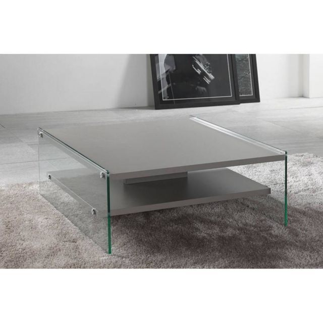 Inside 75 Table Basse Bella 2 Plateaux Gris Pietement En