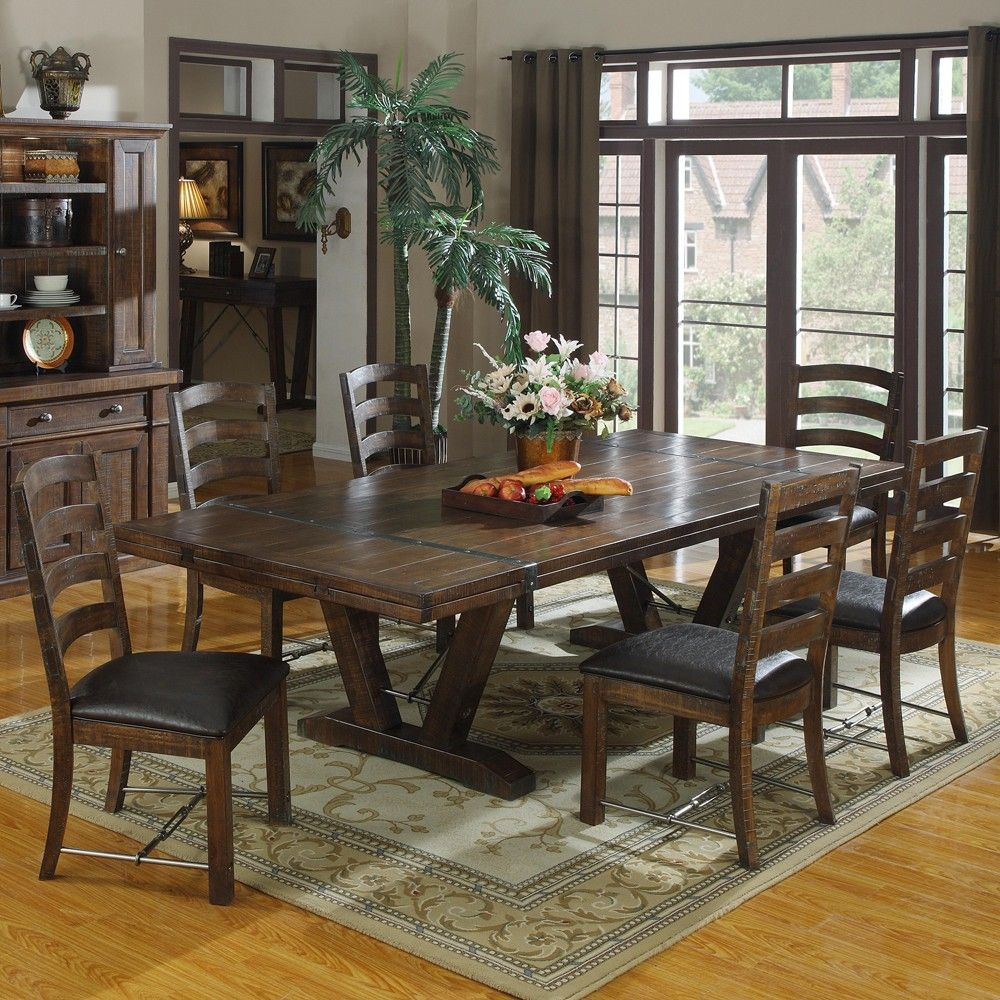 Castlegate Wood Rectangular Dining Table Chairs In Distressed