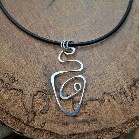 Sterling Silver Geometric Pendant Necklace by UniquebyRebecca on etsy