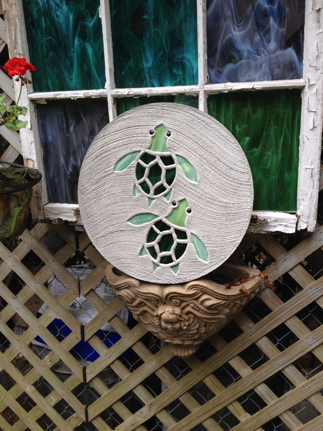 Baby Sea Turtles Stepping Stone 18 Inch Diameter Concrete Stained Gl Mosaic Garden Turtle Yard Art Ornament Decor By