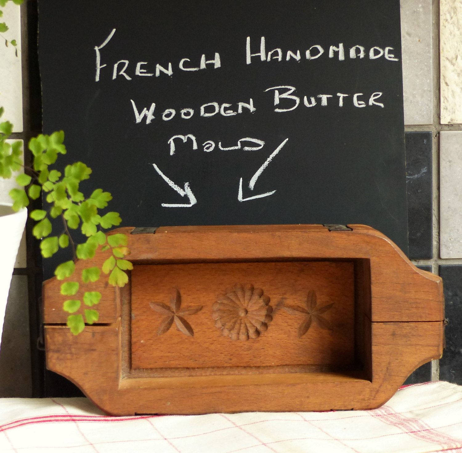 French Vintage Wooden Butter Mold. Wooden Oblong Butter Mold. French ...