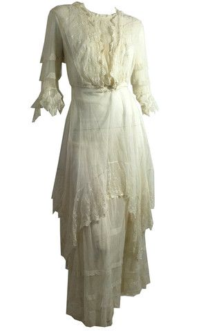 Delicate & Feminine Mesh and Lace Dress circa Early 1900s - Dorothea's Closet Vintage