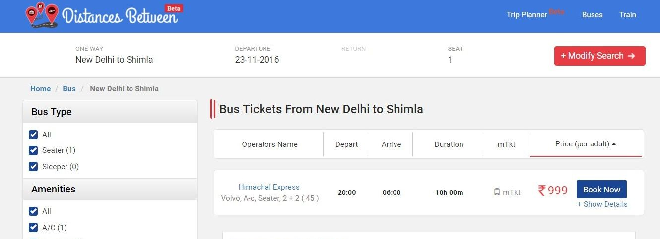 Get New Delhi To Shimla Bus Tickets Volvo Booking Non AC Seater   Printable  Fake Airline  Printable Fake Airline Tickets