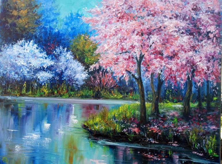 Original Landscape Painting By Oleg Ryzhkov Fine Art Art On Canvas Sakura In 2020 Sakura Painting Painting Fine Art